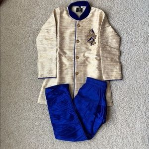 Size 4 toddler boys sherwani in blue and cream